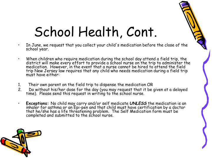 School Health, Cont.