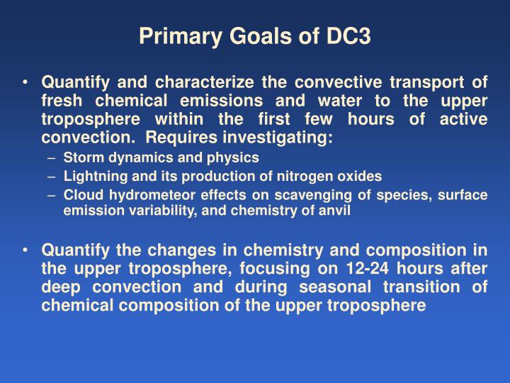Primary goals of dc3