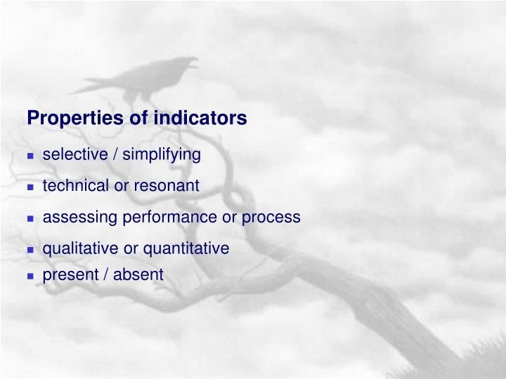 Properties of indicators