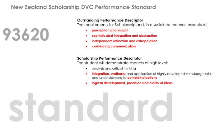 New Zealand Scholarship DVC Performance Standard