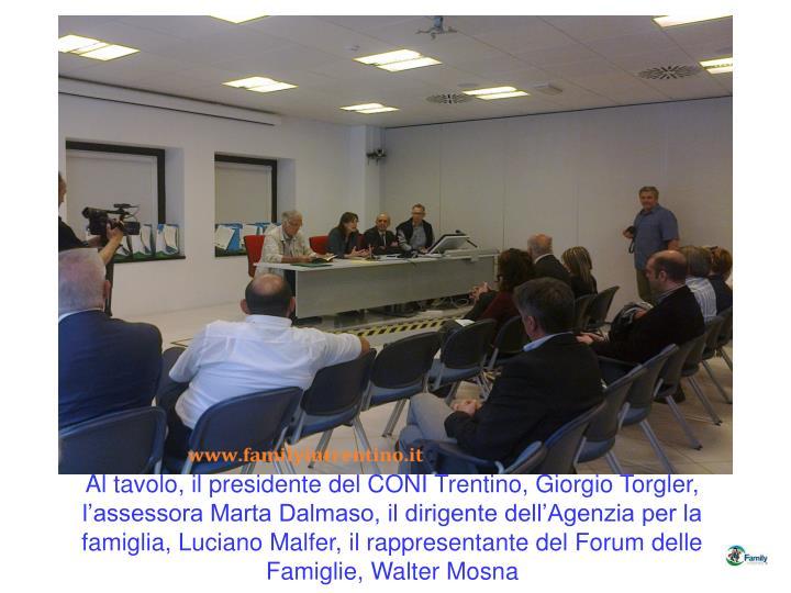 Al tavolo, il presidente del CONI Trentino, Giorgio Torgler,