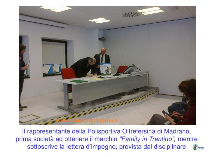 Il rappresentante della Polisportiva Oltrefersina di Madrano, prima società ad ottenere il marchio