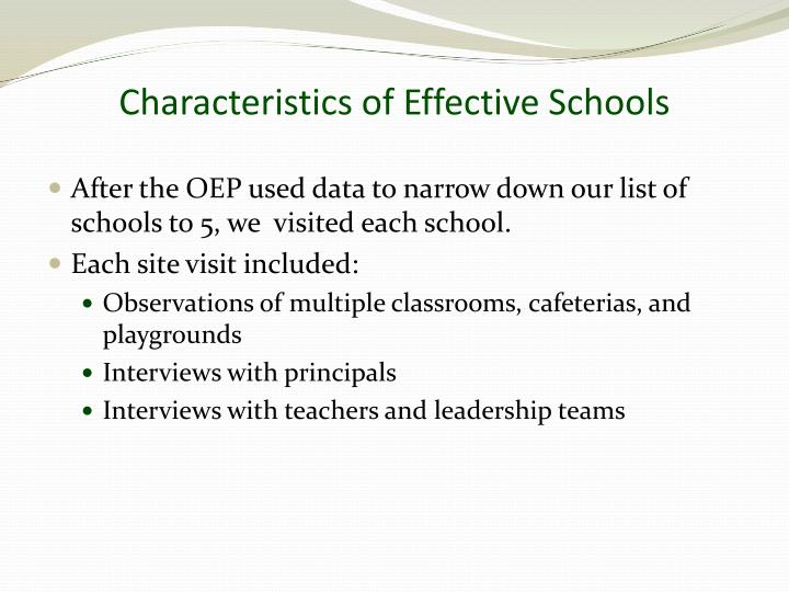 Characteristics of Effective Schools