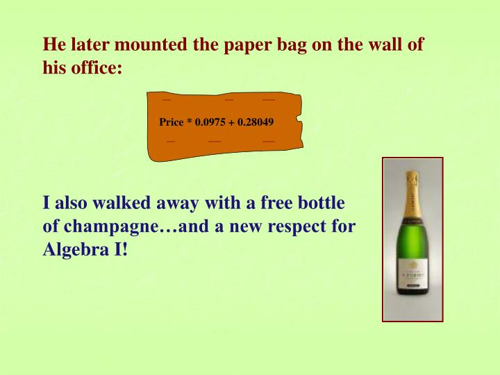He later mounted the paper bag on the wall of his office: