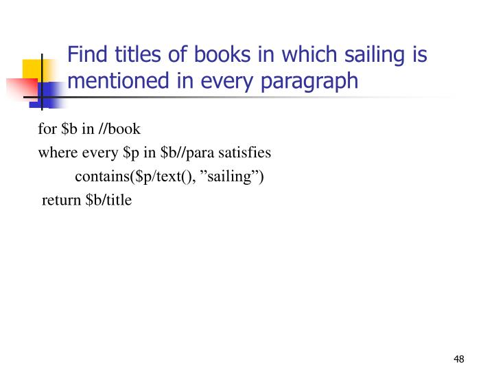 Find titles of books in which sailing is mentioned in every paragraph