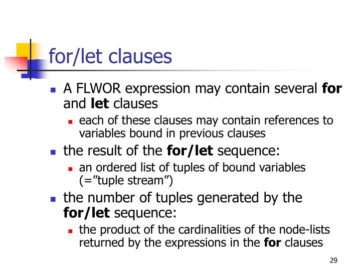 for/let clauses