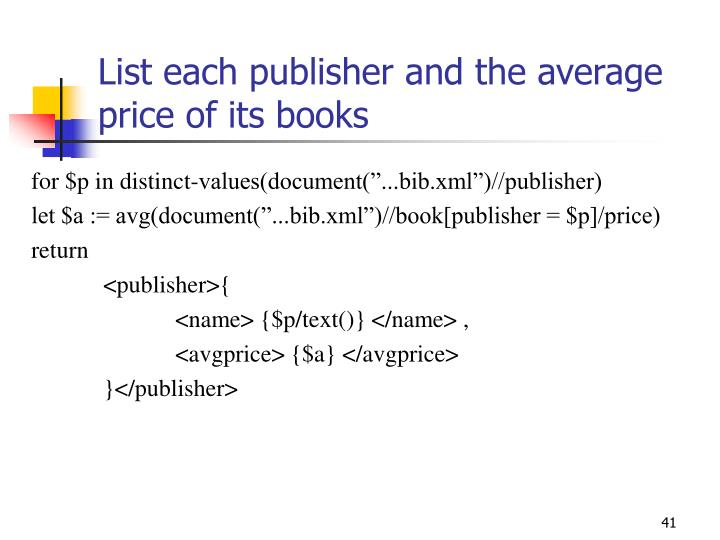 List each publisher and the average price of its books
