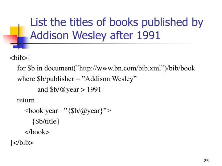 List the titles of books published by Addison Wesley after 1991