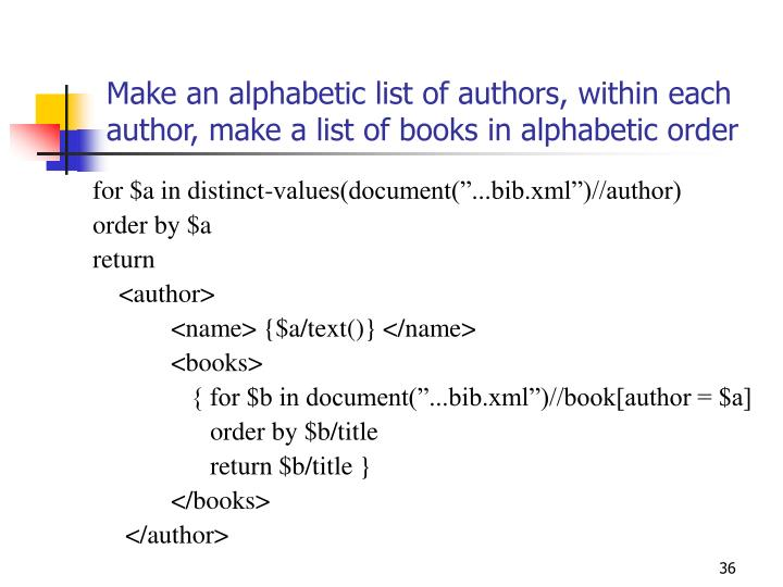 Make an alphabetic list of authors, within each author, make a list of books in alphabetic order