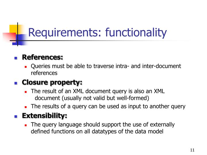 Requirements: functionality