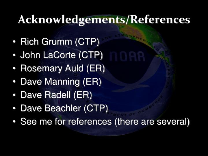 Acknowledgements/References