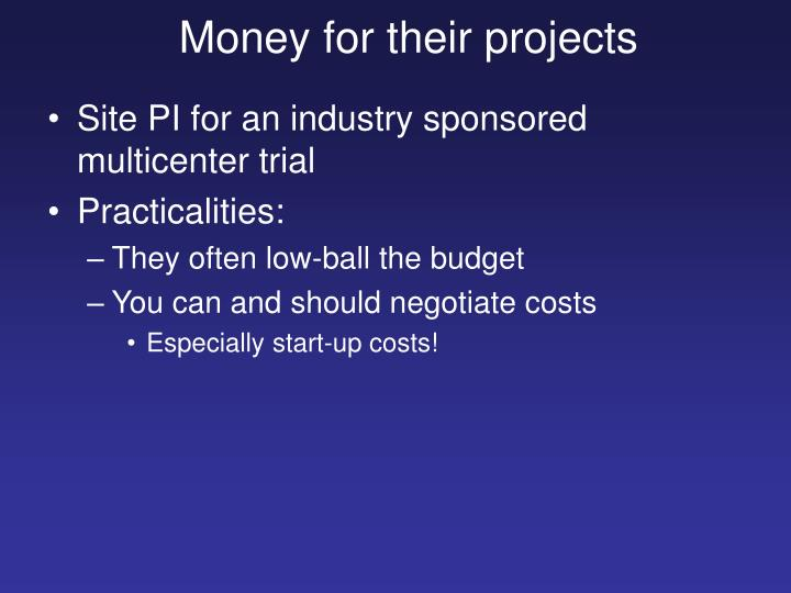 Money for their projects