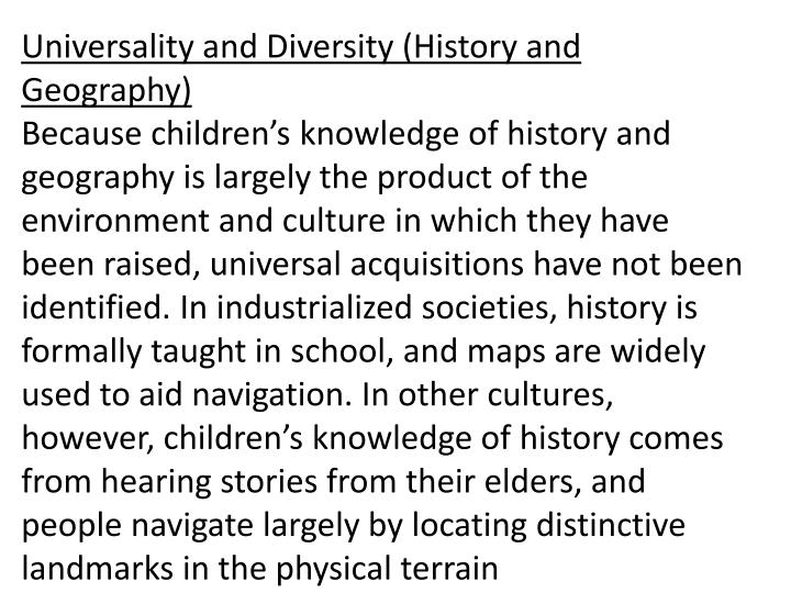 Universality and Diversity (History and Geography)