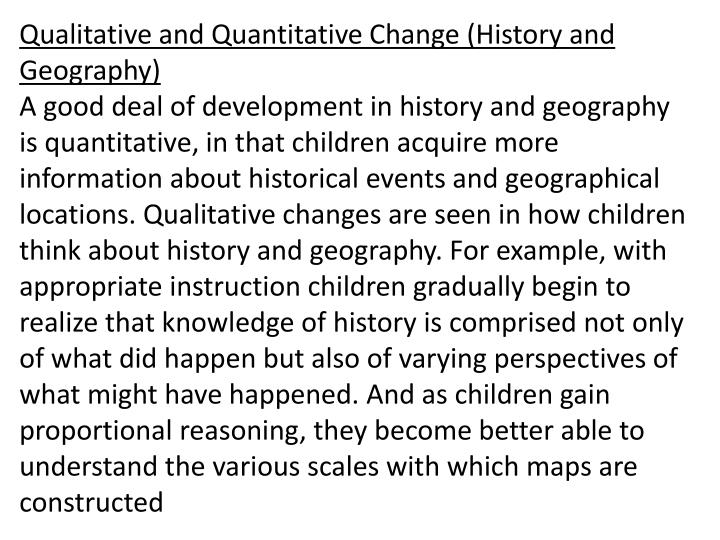 Qualitative and Quantitative Change (History and Geography)
