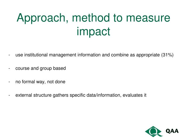 Approach, method to measure impact