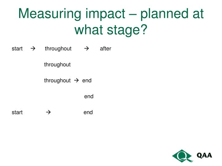 Measuring impact – planned at what stage?