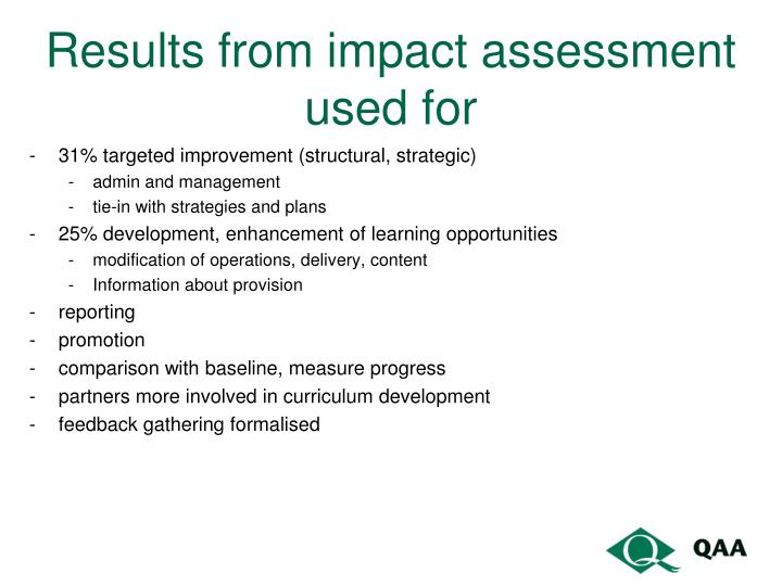 Results from impact assessment used for