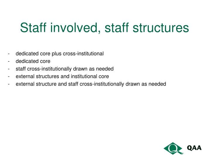 Staff involved, staff structures