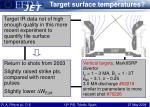 target surface temperatures