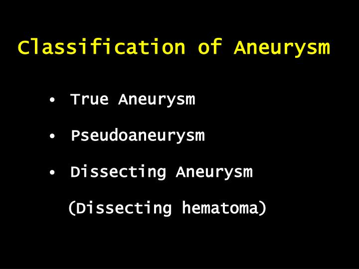 Classification of Aneurysm