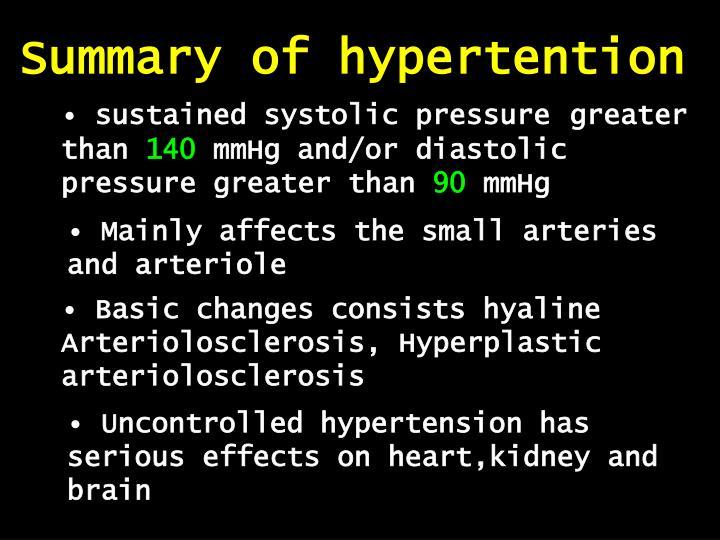 Summary of hypertention