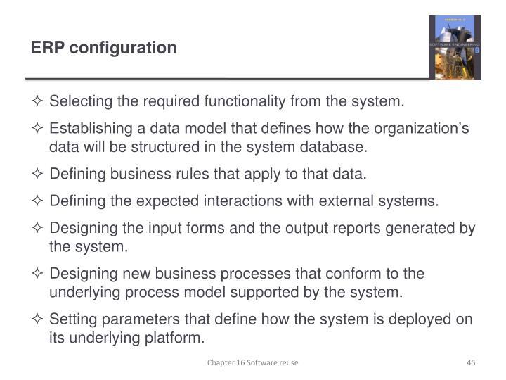 ERP configuration