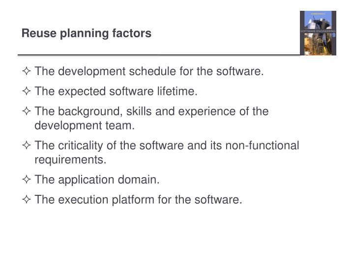 The development schedule for the software.