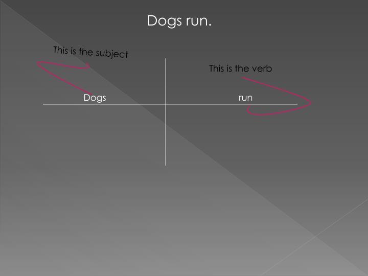 Dogs run.