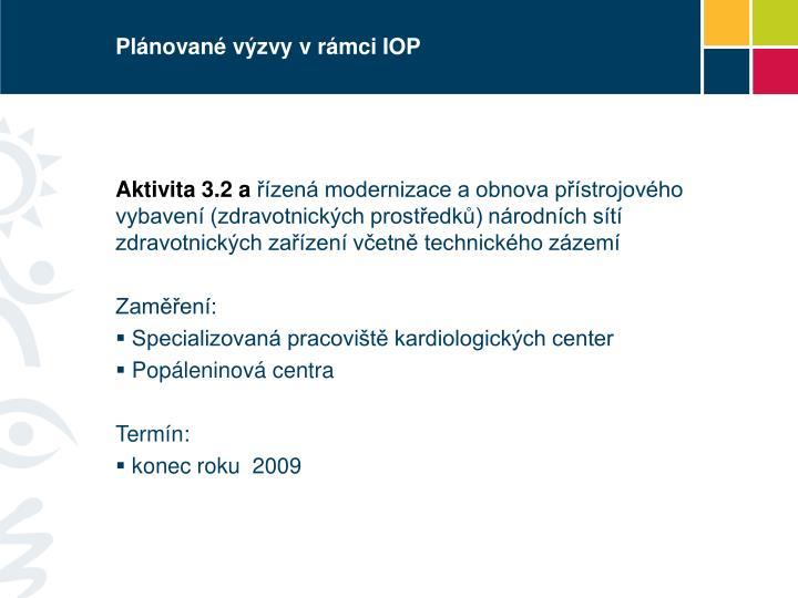 Plánované výzvy v rámci IOP