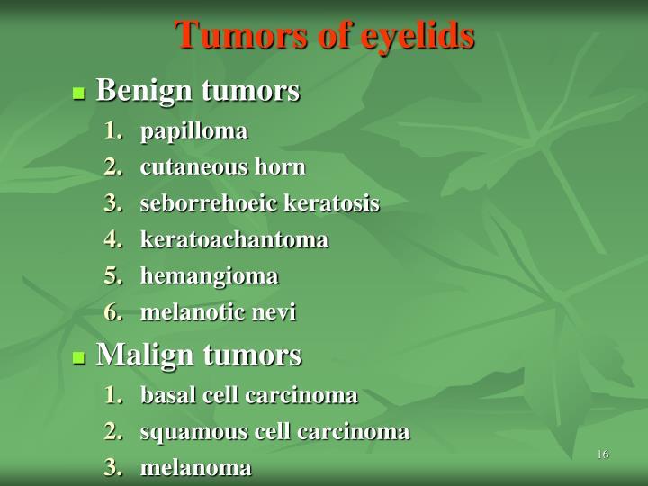 Tumors of eyelids