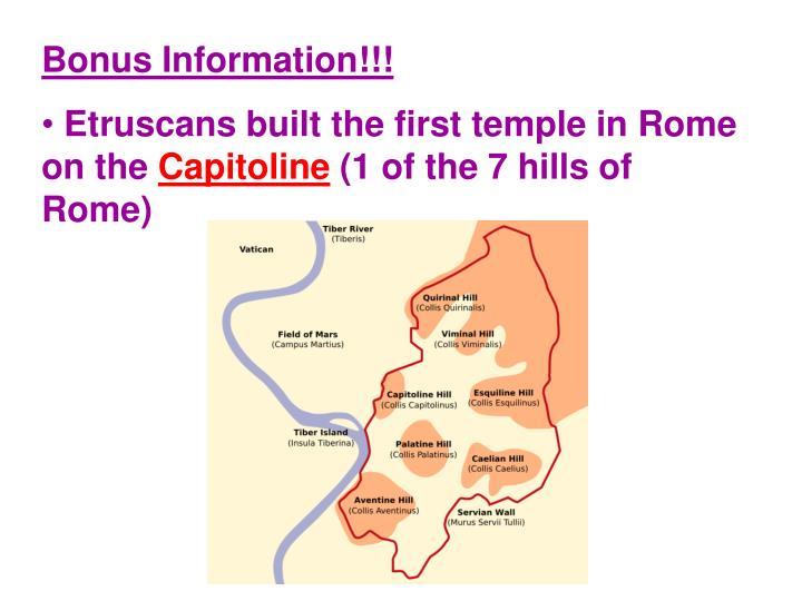 Bonus Information!!!