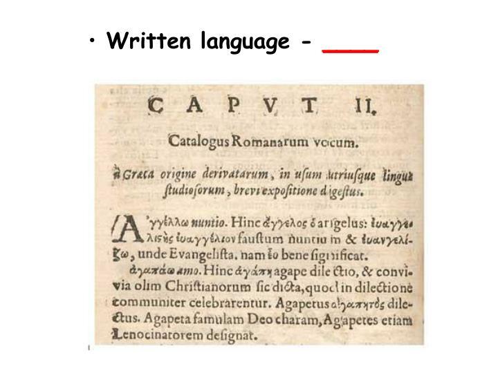 Written language -