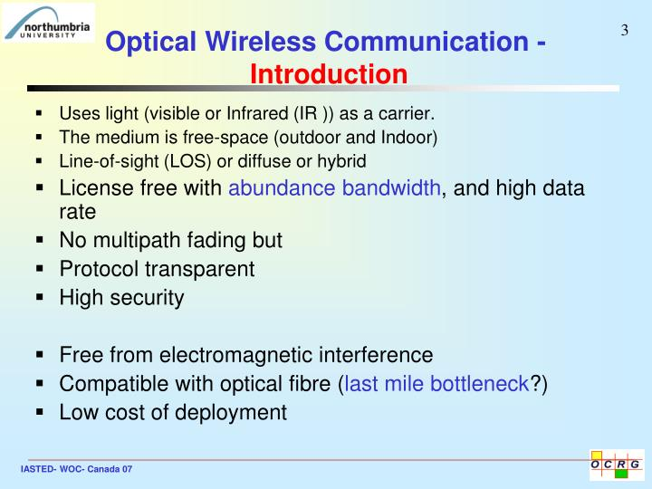 Optical wireless communication introduction