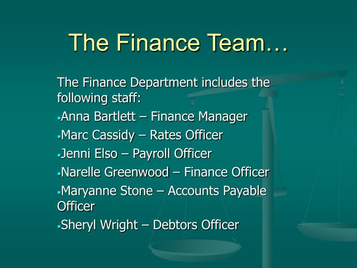 The finance team