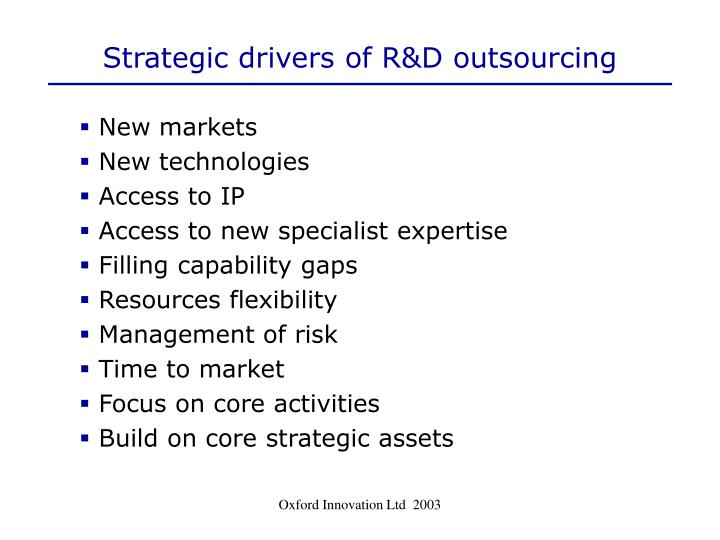 Strategic drivers of R&D outsourcing