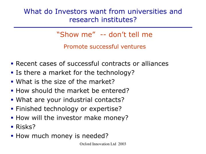 What do Investors want from universities and research institutes?