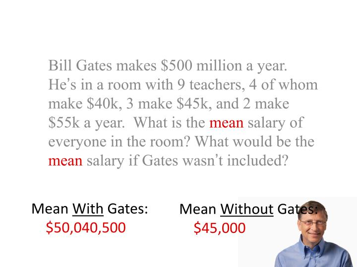 Bill Gates makes $500 million a year.  He