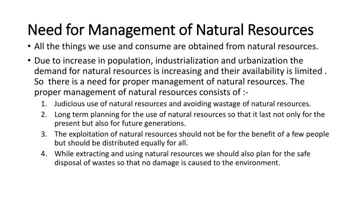 Need for Management of Natural Resources