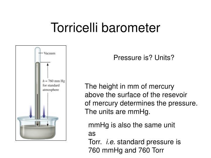 Torricelli barometer