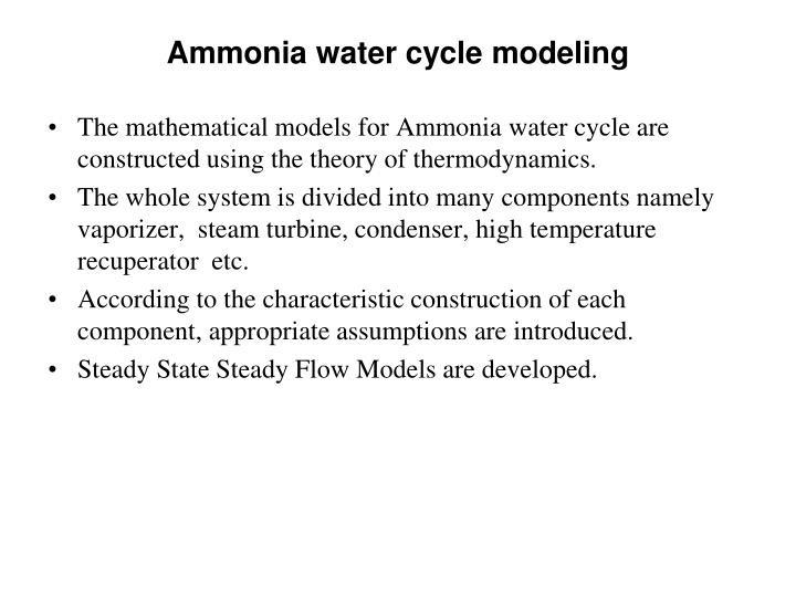 Ammonia water cycle modeling