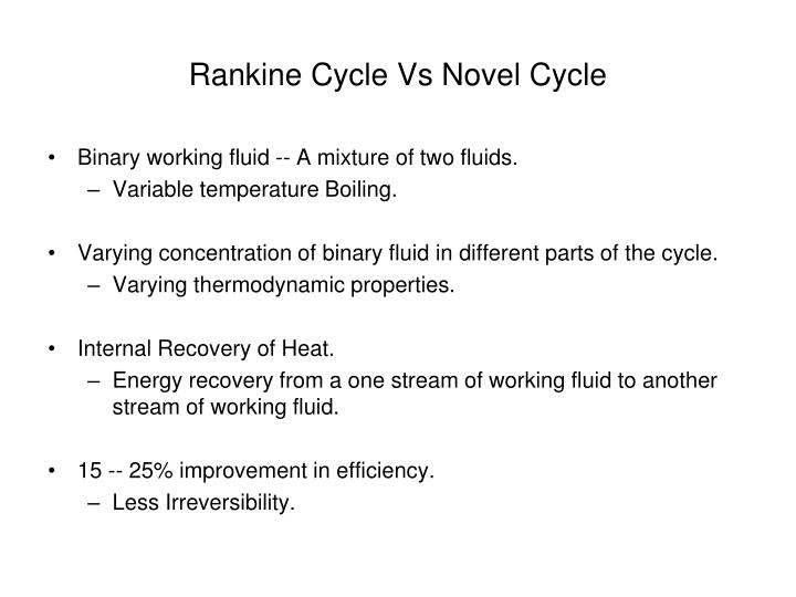Rankine Cycle Vs Novel Cycle