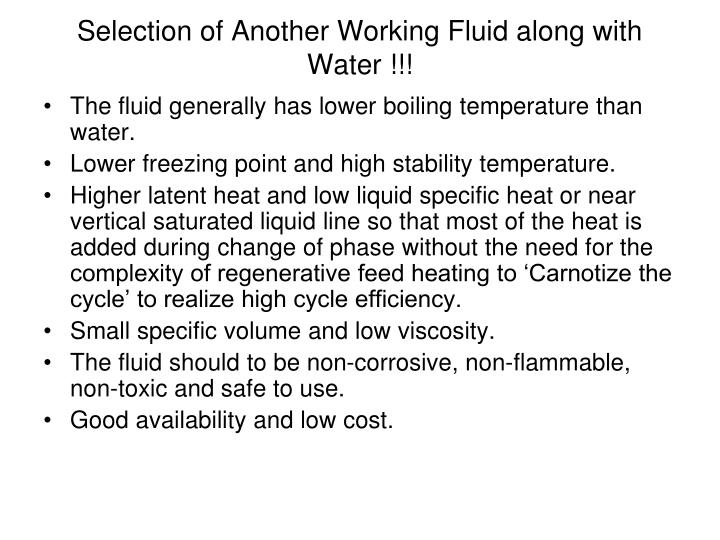 Selection of Another Working Fluid along with Water !!!