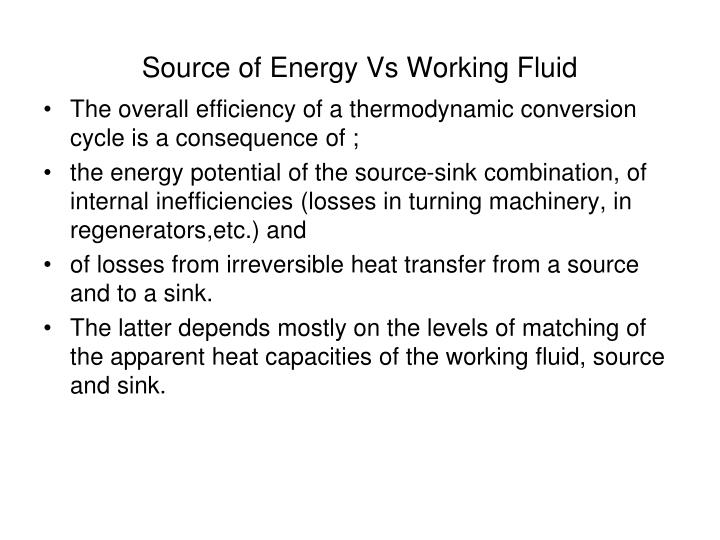 Source of Energy Vs Working Fluid