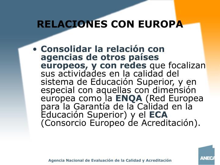 RELACIONES CON EUROPA