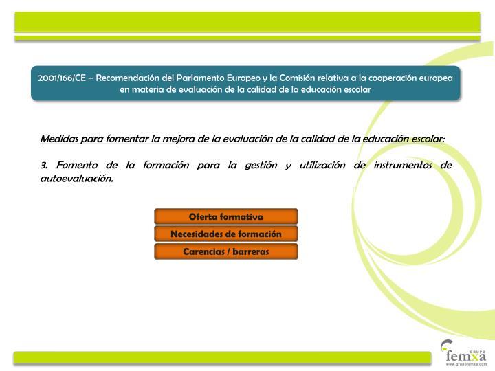 2001/166/CE – Recomendación del Parlamento Europeo y la Comisión relativa a la cooperación europea en materia de evaluación de la calidad de la educación escolar