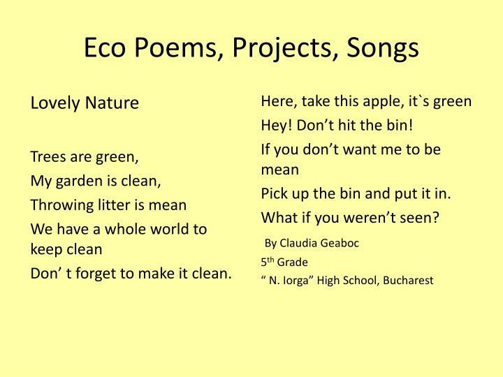 Eco Poems, Projects, Songs