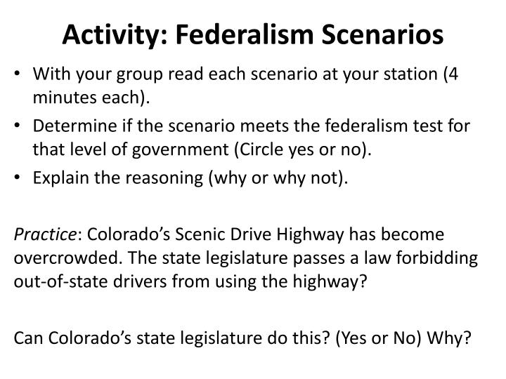 Activity: Federalism Scenarios