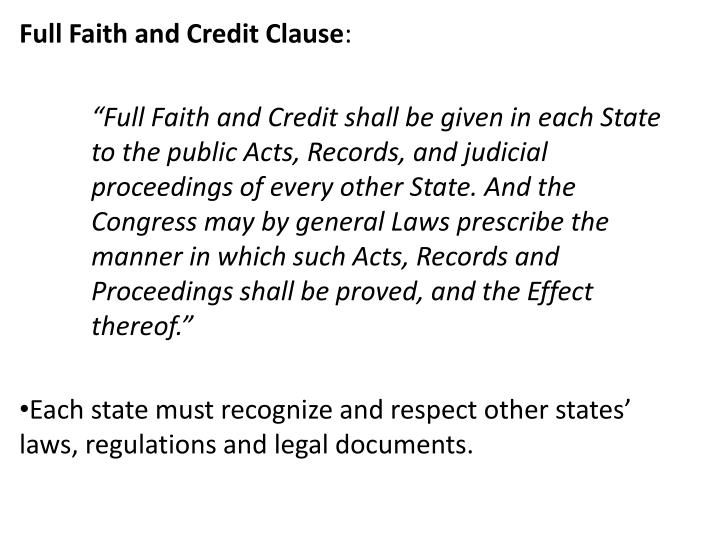 Full Faith and Credit Clause