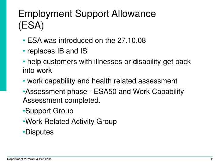 Employment Support Allowance (ESA)