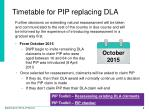 timetable for pip replacing dla1